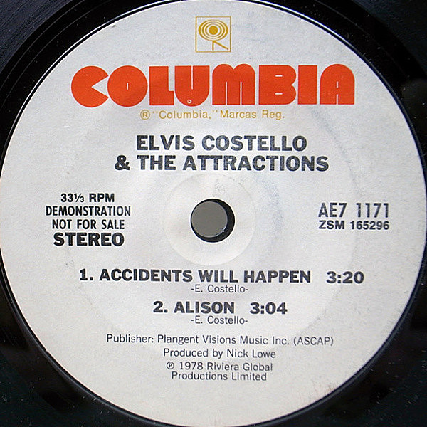 レコードメイン画像:【佳曲揃い3曲入り】美盤 White Promo 7インチ ELVIS COSTELLO Accidents Will Happen / Alison / Watching The Detectives 白プロモ