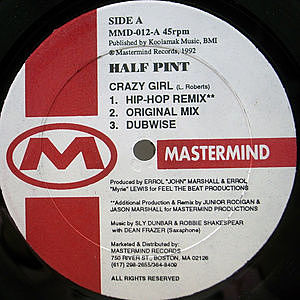 レコード画像:HALF PINT / Crazy Girl / Tell We This