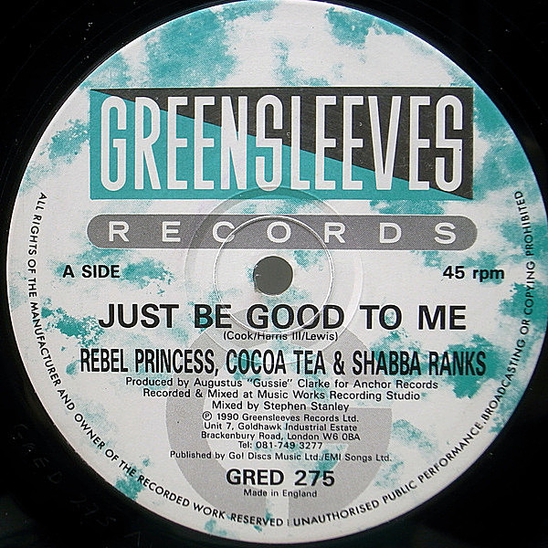 レコードメイン画像:良盤 UKオリジナル 12インチ REBEL PRINCESS, COCOA TEA & SHABBA RANKS Just Be Good To Me ('90 Greensleeves) S.O.S. BAND 好カヴァー