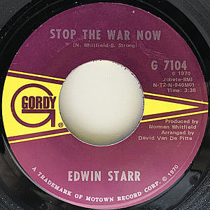 レコード画像:EDWIN STARR / Stop The War Now / Gonna Keep On Tryin' Till I Win Your Love