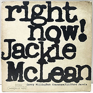 レコード画像:JACKIE McLEAN / Right Now