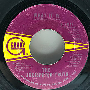 レコード画像:UNDISPUTED TRUTH / What It Is / California Soul