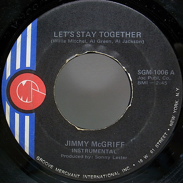 レコードメイン画像:JAZZ FUNK 45 / JIMMY McGRIFF Let's Stay Together カヴァー!!