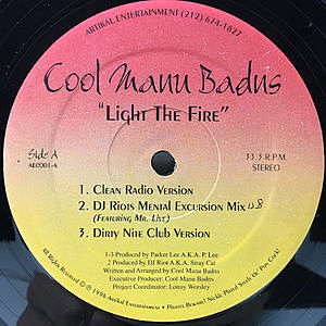 レコード画像:COOL MANU BADUS / Light The Fire / If Da Clip Fits