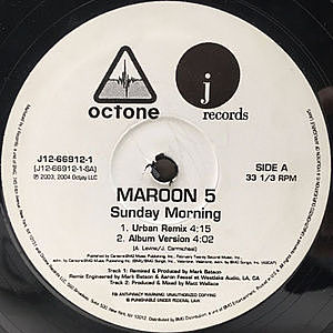 レコード画像:MAROON 5 / Sunday Morning / This Love