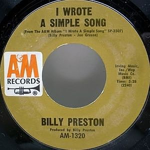 レコード画像:BILLY PRESTON / I Wrote A Simple Song / Outa-Space