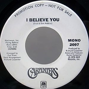 レコード画像:CARPENTERS / I Believe You