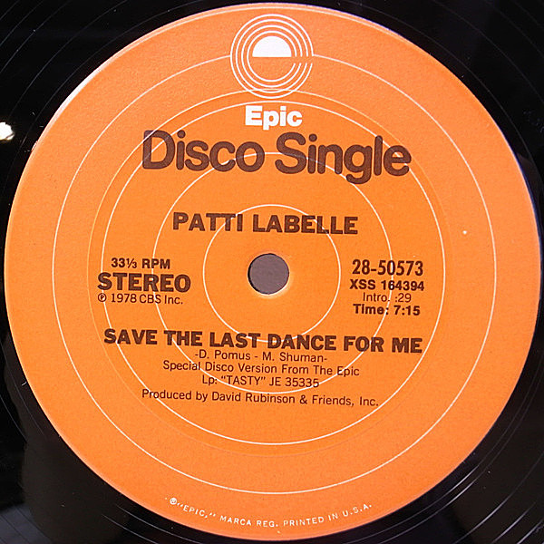 レコードメイン画像:美盤!! 12 US オリジナル PATTI LABELLE Eyes In The Back Of My Head ('78 Epic) Save The Last Dance For Me