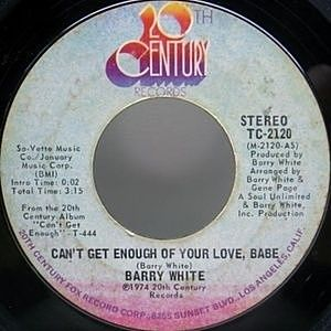 レコード画像:BARRY WHITE / Can't Get Enough Of Your Love, Babe / Just Not Enough