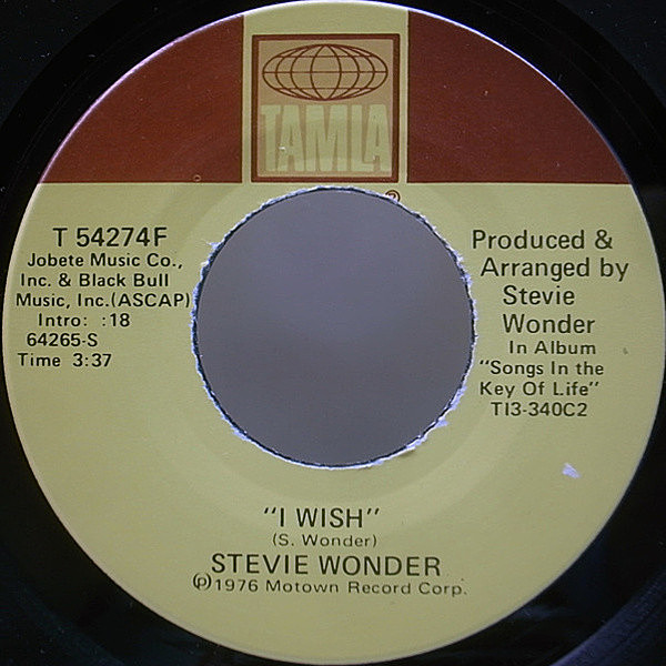 レコードメイン画像:美盤 7 オリジナル STEVIE WONDER I Wish / You And I ('76 Tamla) WILL SMITH/Wild Wild West ネタ FUNKY SOUL 45RPM.