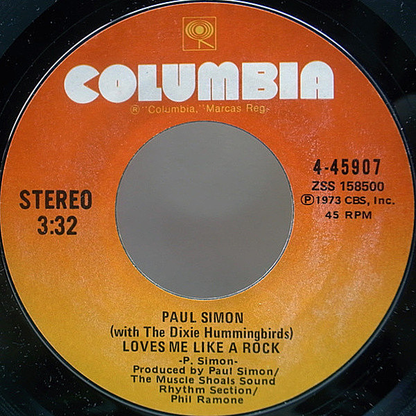 レコードメイン画像:美盤 7 オリジナル PAUL SIMON Loves Me Like A Rock / Learn How To Fall ('73 Columbia) シングル 45RPM.