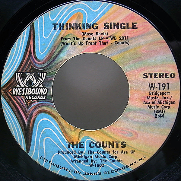 レコードメイン画像:7 USオリジナル THE COUNTS Thinking Single ('71 WESTBOUND) 45RPM.