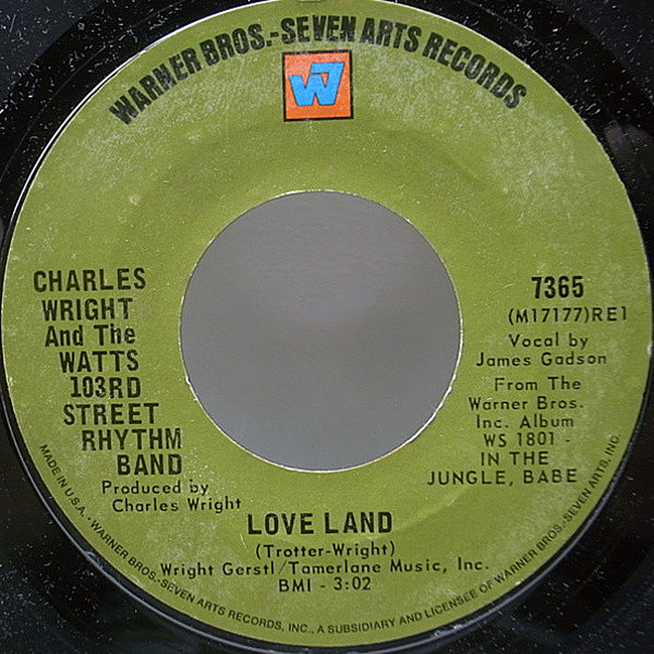 レコードメイン画像:美盤!! 7 USオリジナル CHARLES WRIGHT & THE WATTS 103RD STREET RHYTHM BAND Love Land / Sorry Charlie ('70 Warner Bros.) 甘茶ソウル