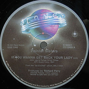 レコード画像:POINTER SISTERS / If You Wanna Get Back Your Lady / I'm So Excited