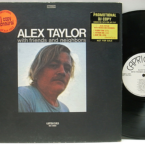 レコードメイン画像:レア!! MONO プロモ・オンリー ALEX TAYLOR With Friends And Neighbors ('71 Capricorn) PROMO ONLY モノラル James Taylor, King Curtis