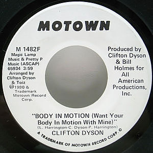 レコード画像:CLIFTON DYSON / Body In Motion (Want Your Body In Motion With Mine)
