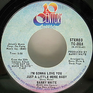 レコード画像:BARRY WHITE / I'm Gonna Love You Just A Little More Baby