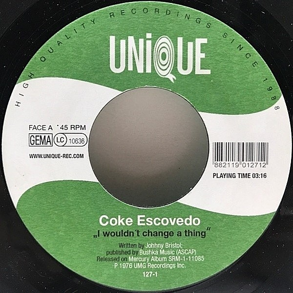 レコードメイン画像:良盤!! GERMANY 7インチ COKE ESCOVEDO I Wouldn't Change A Thing / ELI GOULART E BANDA DO MATO Mestre Andre ('06 Unique) 高音圧