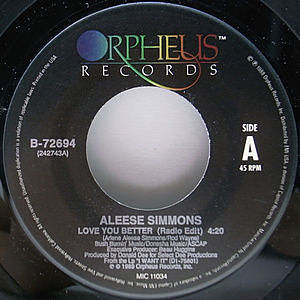 レコード画像:ALEESE SIMMONS / Love You Better / Don't Wanna Lose