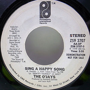 レコード画像:O'JAYS / Sing A Happy Song
